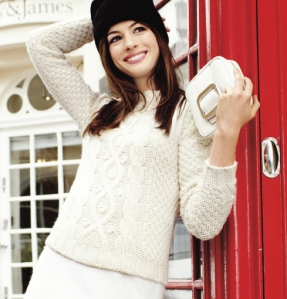 Anne Hathaway cable knit sweater